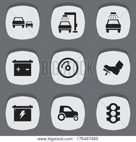 Set Of 9 Editable Vehicle Icons. Includes Symbols Such As Vehicle Car, Car Lave, Speed Display And More. Can Be Used For Web, Mobile, UI And Infographic Design.