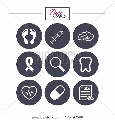 Medicine, medical health and diagnosis icons. Syringe injection, heartbeat and pills signs. Tooth, neurology symbols. Classic simple flat icons. Vector