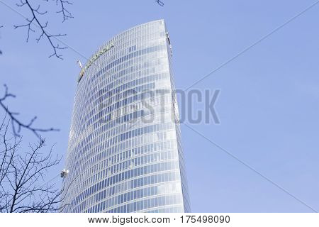 Exterior View Of The Iberdrola Tower On A Sunny Day.