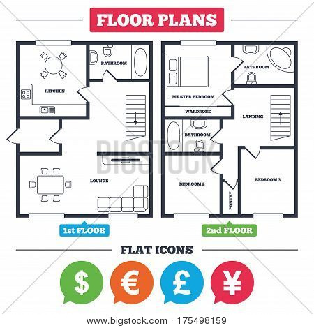 Architecture plan with furniture. House floor plan. Dollar, Euro, Pound and Yen currency icons. USD, EUR, GBP and JPY money sign symbols. Kitchen, lounge and bathroom. Vector