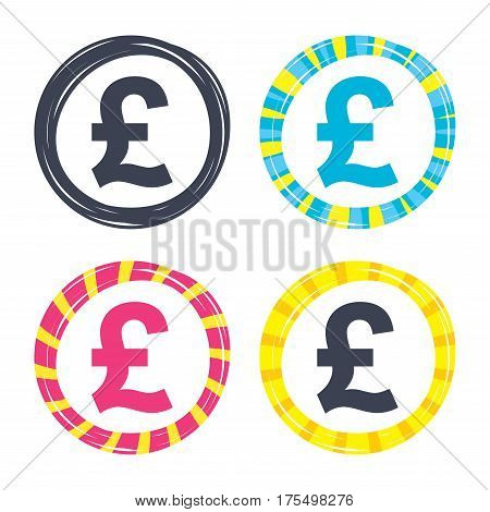 Pound sign icon. GBP currency symbol. Money label. Colored buttons with icons. Poker chip concept. Vector