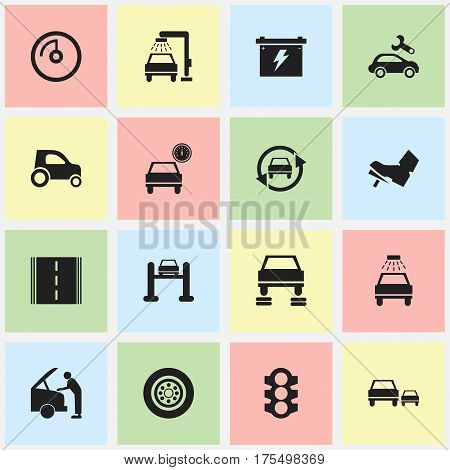 Set Of 16 Editable Transport Icons. Includes Symbols Such As Speed Display, Battery, Treadle And More. Can Be Used For Web, Mobile, UI And Infographic Design.