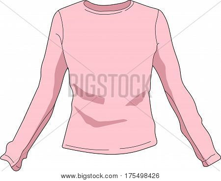 The pink blouse with long sleeves. A cardigan.