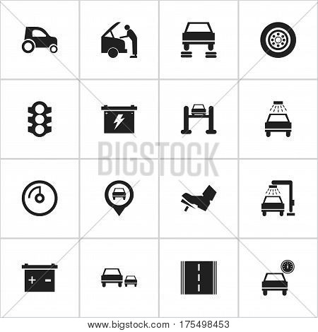 Set Of 16 Editable Vehicle Icons. Includes Symbols Such As Pointer, Vehicle Wash, Vehicle Car And More. Can Be Used For Web, Mobile, UI And Infographic Design.
