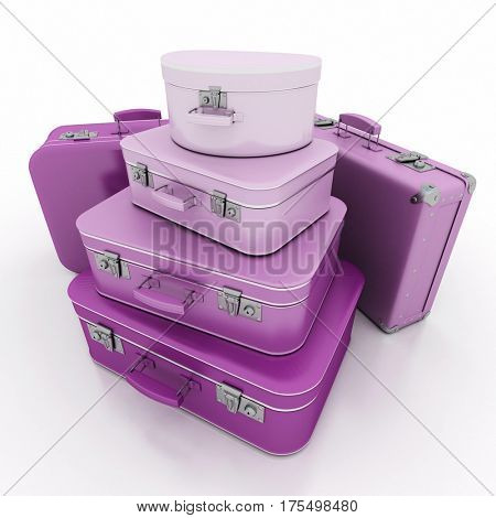 3d Rendering of a pile of pink luggage with a retro look