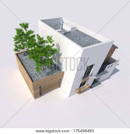 3D rendering of a big modern house with a terrace garden on the roof