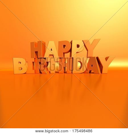 3D rendering of white letters forming the words Happy Birthday on an orange background