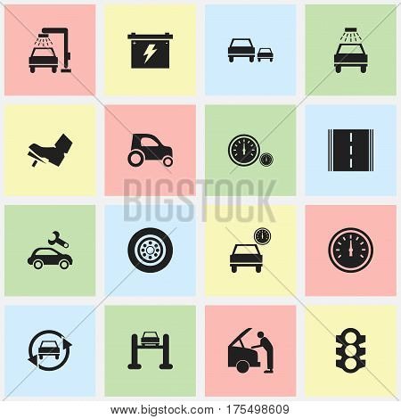Set Of 16 Editable Vehicle Icons. Includes Symbols Such As Car Lave, Race, Vehicle Car And More. Can Be Used For Web, Mobile, UI And Infographic Design.