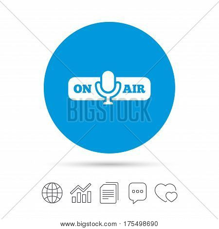 On air sign icon. Live stream symbol. Microphone symbol. Copy files, chat speech bubble and chart web icons. Vector