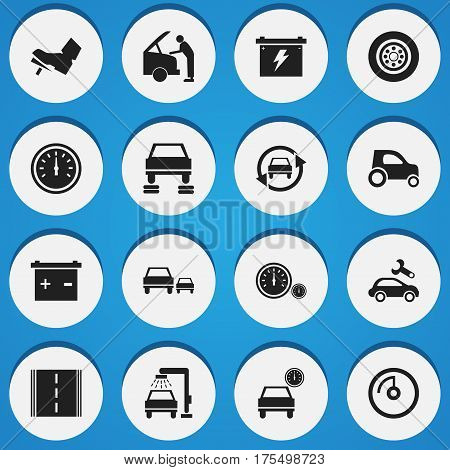 Set Of 16 Editable Vehicle Icons. Includes Symbols Such As Treadle, Accumulator, Car Fixing And More. Can Be Used For Web, Mobile, UI And Infographic Design.