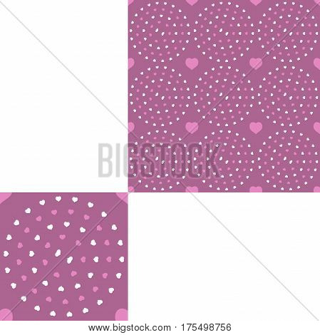 Seamless patterns from hearts of different colors on the pink background with pattern unit.