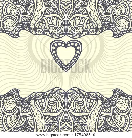 Template  Zen-tangle or Zen-doodle abstract background with heart frame for adult relax coloring books pages or decoration package or for creative  Post Card with Valentine Day or Wedding invitation