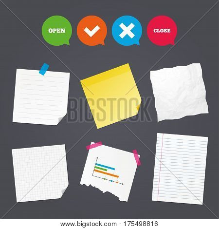 Business paper banners with notes. Open and Close icons. Check or Tick. Delete remove signs. Yes correct and cancel symbol. Sticky colorful tape. Speech bubbles with icons. Vector
