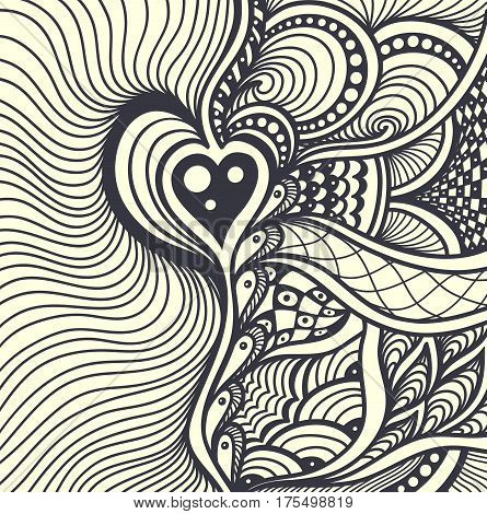 Zen-tangle or Zen-doodle abstract background with heart black on white for coloring page or for adult relax coloring books or decoration package or for creative  Post Card