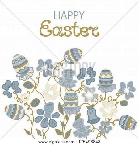 Happy Easter greeting card with flowers and paschal eggs
