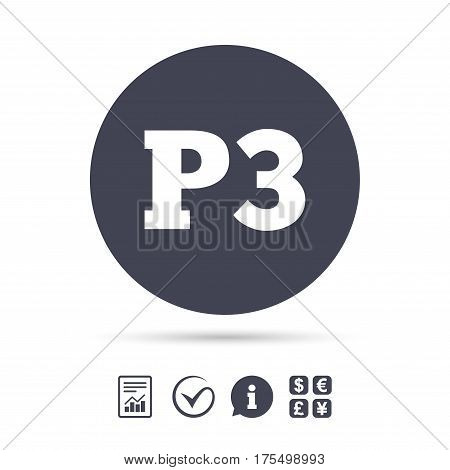 Parking third floor sign icon. Car parking P3 symbol. Report document, information and check tick icons. Currency exchange. Vector