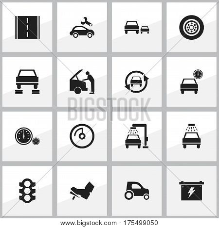 Set Of 16 Editable Car Icons. Includes Symbols Such As Automobile, Treadle, Stoplight And More. Can Be Used For Web, Mobile, UI And Infographic Design.