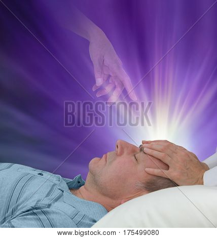 Spiritual help during a healing session - female hands laid on a male patient's forehead channeling energy together with a higher power manifesting healing light on a dark purple background