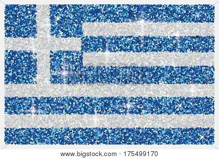 Shiny iridescent glitter Greek flag in vector format