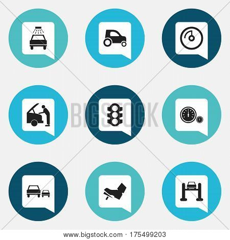 Set Of 9 Editable Traffic Icons. Includes Symbols Such As Vehicle Car, Speedometer, Treadle And More. Can Be Used For Web, Mobile, UI And Infographic Design.