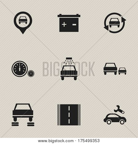 Set Of 9 Editable Traffic Icons. Includes Symbols Such As Car Lave, Pointer, Automotive Fix And More. Can Be Used For Web, Mobile, UI And Infographic Design.