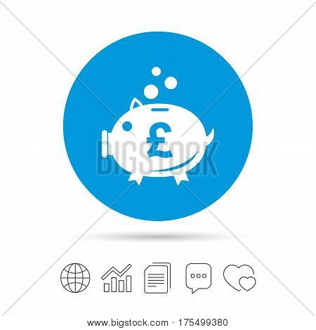 Piggy bank sign icon. Moneybox pound symbol. Copy files, chat speech bubble and chart web icons. Vector