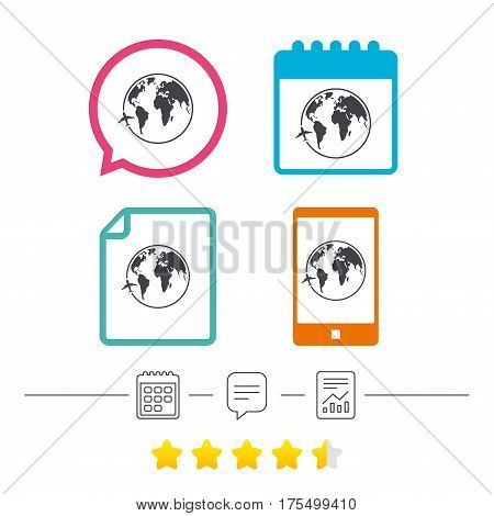 Airplane sign icon. Travel trip round the world symbol. Calendar, chat speech bubble and report linear icons. Star vote ranking. Vector