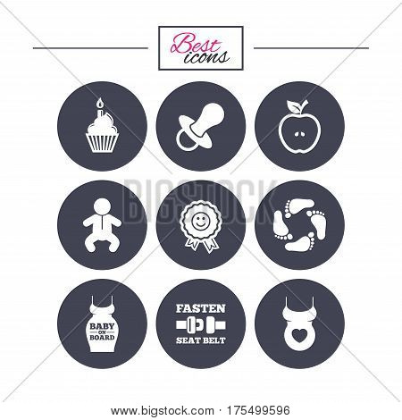 Pregnancy, maternity and baby care icons. Apple, award and pacifier signs. Footprint, birthday cake and newborn symbols. Classic simple flat icons. Vector