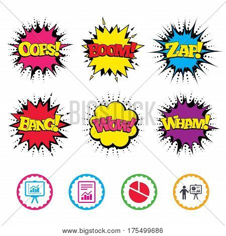 Comic Wow, Oops, Boom and Wham sound effects. File document with diagram. Pie chart icon. Presentation billboard symbol. Supply and demand. Zap speech bubbles in pop art. Vector