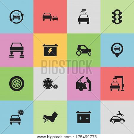 Set Of 16 Editable Vehicle Icons. Includes Symbols Such As Vehicle Wash, Battery, Treadle And More. Can Be Used For Web, Mobile, UI And Infographic Design.