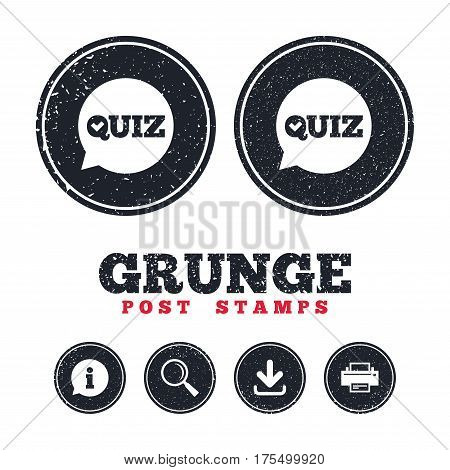 Grunge post stamps. Quiz check in speech bubble sign icon. Questions and answers game symbol. Information, download and printer signs. Aged texture web buttons. Vector