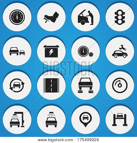 Set Of 16 Editable Car Icons. Includes Symbols Such As Vehicle Wash, Treadle, Speed Control And More. Can Be Used For Web, Mobile, UI And Infographic Design.