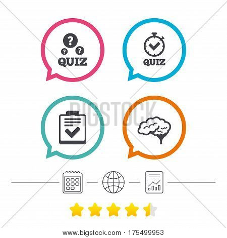 Quiz icons. Human brain think. Checklist and stopwatch timer symbol. Survey poll or questionnaire feedback form sign. Calendar, internet globe and report linear icons. Star vote ranking. Vector