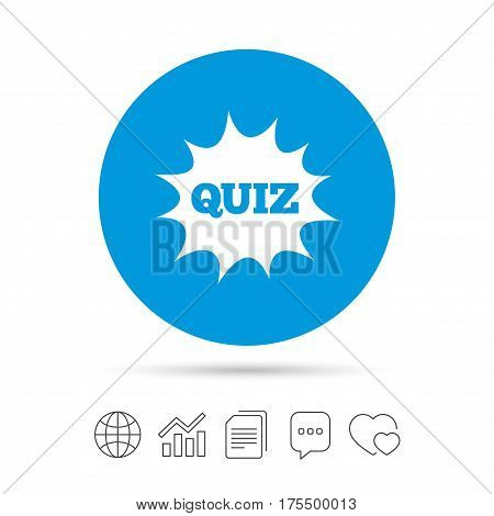 Quiz boom speech bubble sign icon. Questions and answers game symbol. Copy files, chat speech bubble and chart web icons. Vector