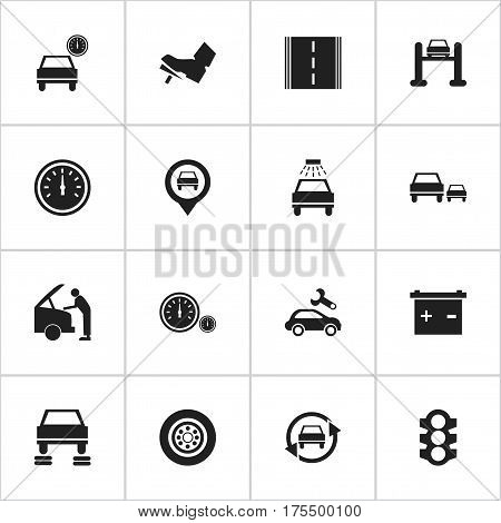 Set Of 16 Editable Car Icons. Includes Symbols Such As Accumulator, Treadle, Car Lave And More. Can Be Used For Web, Mobile, UI And Infographic Design.