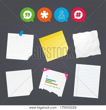 Business paper banners with notes. Quote, asterisk footnote icons. Hashtag social media and ampersand symbols. Programming logical operator AND sign. Speech bubble. Sticky colorful tape. Vector
