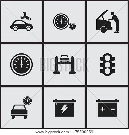 Set Of 9 Editable Vehicle Icons. Includes Symbols Such As Car Fixing, Stoplight, Speed Control And More. Can Be Used For Web, Mobile, UI And Infographic Design.