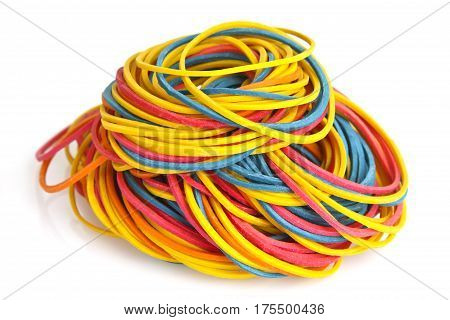 Colorful rubber bands on bright background. Shot in Studio.