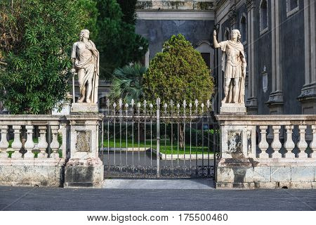 Statues in front of Catania Cathedral in Catania on the island of Sicily Italy