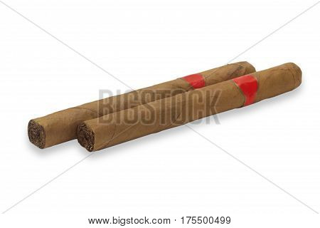 Two cigars isolated on white background. Shot in Studio.