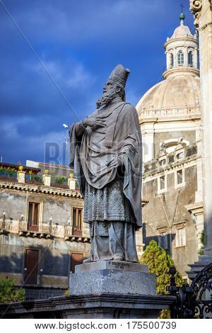 Statue in front of Catania Cathedral in Catania on the island of Sicily Italy