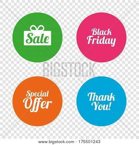 Sale icons. Special offer and thank you symbols. Gift box sign. Round buttons on transparent background. Vector