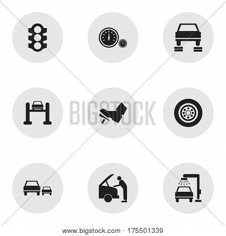 Set Of 9 Editable Vehicle Icons. Includes Symbols Such As Auto Repair, Treadle, Car Fixing And More. Can Be Used For Web, Mobile, UI And Infographic Design.