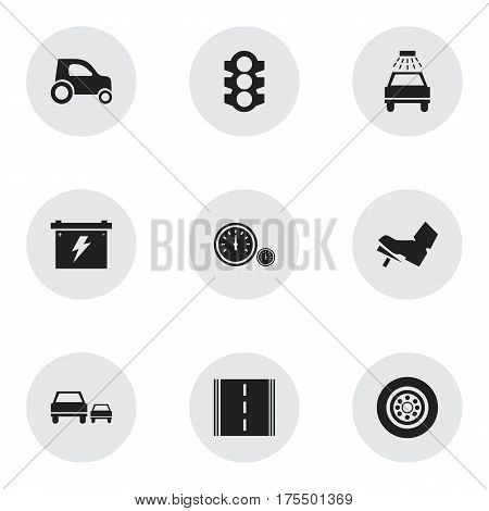 Set Of 9 Editable Traffic Icons. Includes Symbols Such As Stoplight, Speedometer, Car Lave And More. Can Be Used For Web, Mobile, UI And Infographic Design.
