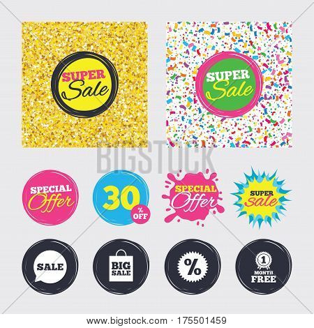 Gold glitter and confetti backgrounds. Covers, posters and flyers design. Sale speech bubble icon. Discount star symbol. Big sale shopping bag sign. First month free medal. Sale banners. Vector