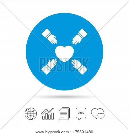 Hands reach for heart sign icon. Save life symbol. Copy files, chat speech bubble and chart web icons. Vector