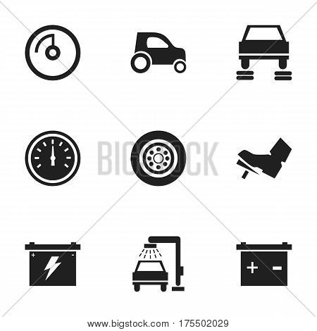 Set Of 9 Editable Traffic Icons. Includes Symbols Such As Treadle, Auto Repair, Battery And More. Can Be Used For Web, Mobile, UI And Infographic Design.
