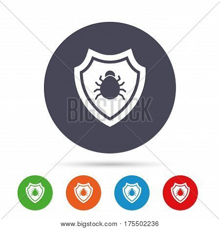 Shield sign icon. Virus protection symbol. Bug symbol. Round colourful buttons with flat icons. Vector