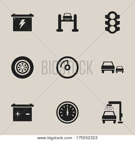 Set Of 9 Editable Vehicle Icons. Includes Symbols Such As Vehicle Wash, Race, Stoplight And More. Can Be Used For Web, Mobile, UI And Infographic Design.