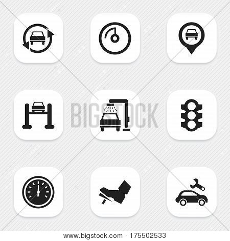 Set Of 9 Editable Vehicle Icons. Includes Symbols Such As Vehicle Wash, Tuning Auto, Speed Display And More. Can Be Used For Web, Mobile, UI And Infographic Design.
